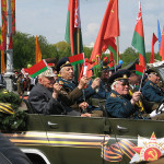 A group of WWII veterans on parade in Minsk.