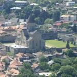 Aerial view of Svetitskhoveli cathedral from the Jvari monastery
