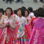 Outdoor dancing outside Kumsusan in North Korea.