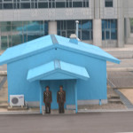 Checkpoint at the DMZ, in North Korea.