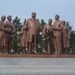 Memorial statues to North Korean leaders.