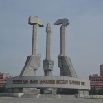 Statues commemorating socialism in North Korea.