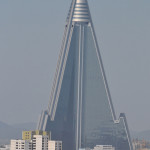 The Ryugyong hotel in Pyongyang, an enormouse pyramid structure.
