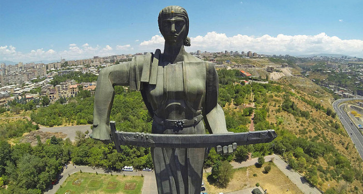 Mother Armenia statue in Yerevan, which replaced the statue of Joseph Stalin in 1967