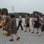 Presenting gifts to leaders in Pyongyang.
