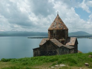 Sevanavank Monastery, with a striking view of Sevan Lake in the background.