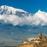 View of Mount Ararat from the south at Khor Virap monastery