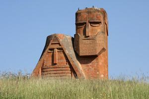 The Nagorno Karabakh statue outside of Gandzasar, Armenia.