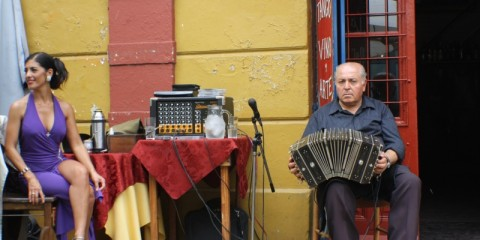 Accordion player and tango dancer in Buenos Aires.