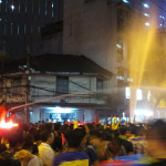 Songkran festival in Bangkok at night.