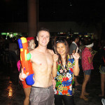 At Songkran, with a new Thai friend.