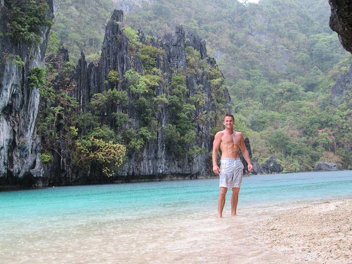 Swimming in the big lagoon at Miniloc island near El Nido