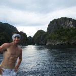 At the entranceway to the big lagoon, Miniloc Island, El Nido.