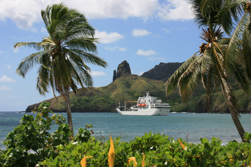 The well-maintained Arunui III French Polynesian vessel.