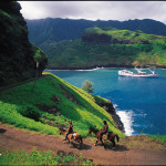 Horseback riding in the Marquesas Islands.