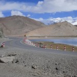 The Karakorum Highway running along the lake