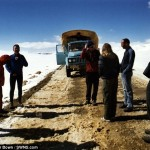 At the longest sloping down road in the world from Tibet to Nepal