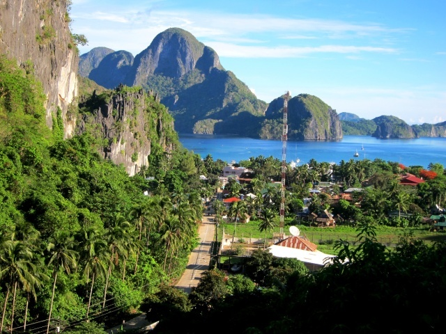 View of El Nido town from the cliffs.
