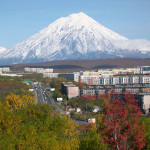 Petropavlovsk-Kamchatsky with Koryasky volcano in the background.