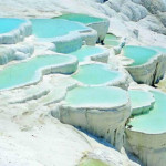 "Pamukkale, which means ""Cotton Castle"" in Turkish."