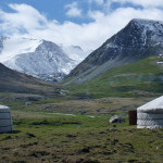 Tuvan landscape, with traditional yurt.