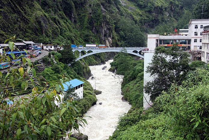 Friendship bridge between Tibet and Nepal.