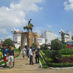 Central traffic roundabout at Ben Thanh market in HCMC.