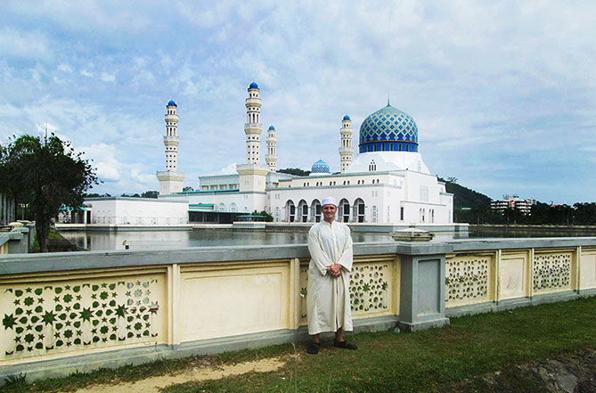 Danny Flood at the Likas Mosque in Sabah, Malaysia.