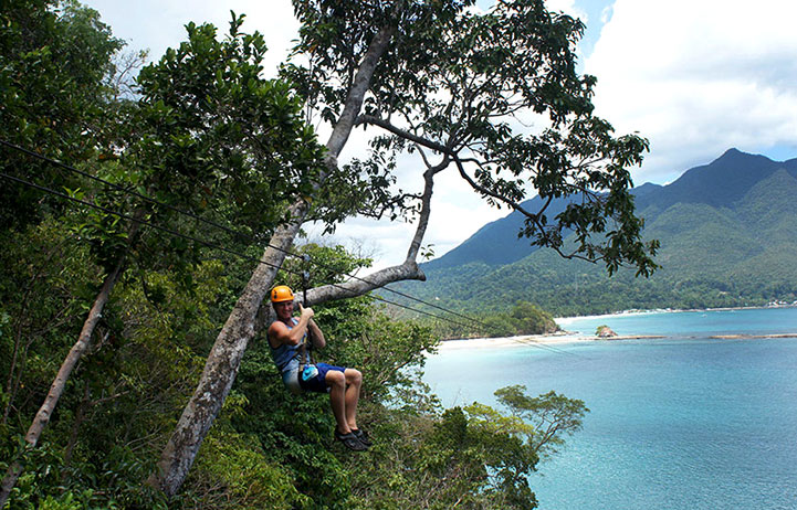 Danny Flood ziplining in the Philippines.