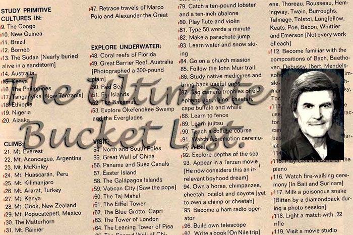 John Goddard's Ultimate Bucket List.