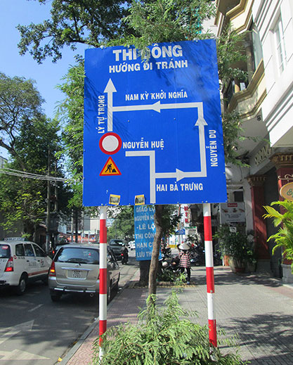 Street sign in Ho Chi Minh City, Vietnam.