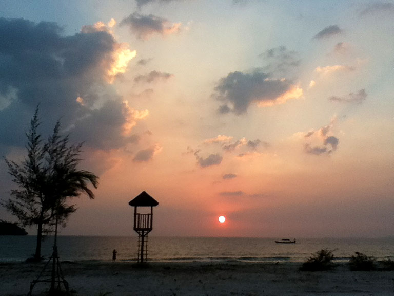 Sunset in Otres Beach, Sihanoukville, Cambodia.