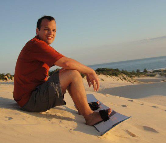 Kevin Wilke sandboarding in Florianopolis, Brazil.