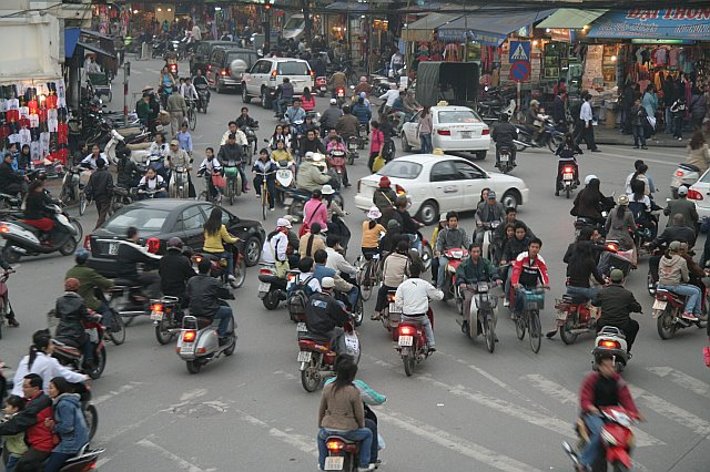 Typical traffic scene in Vietnam.