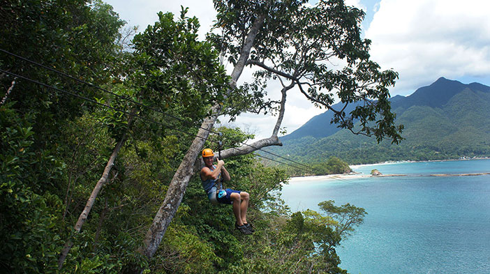 Ziplining in the Philippines.