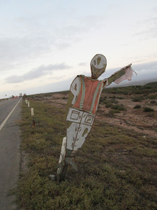 Wooden soldier at military checkpoint, Baja California, Mexico.