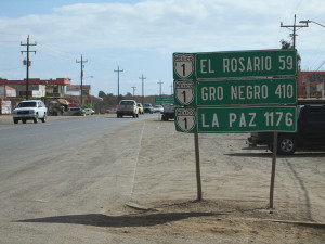 Road from San Quintin to El Rosario, Baja California, Mexico.