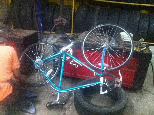Repairing my bicycle in Baja California.