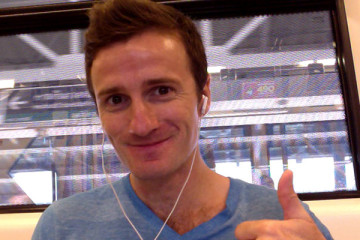 Danny Flood on the Bangkok skytrain.