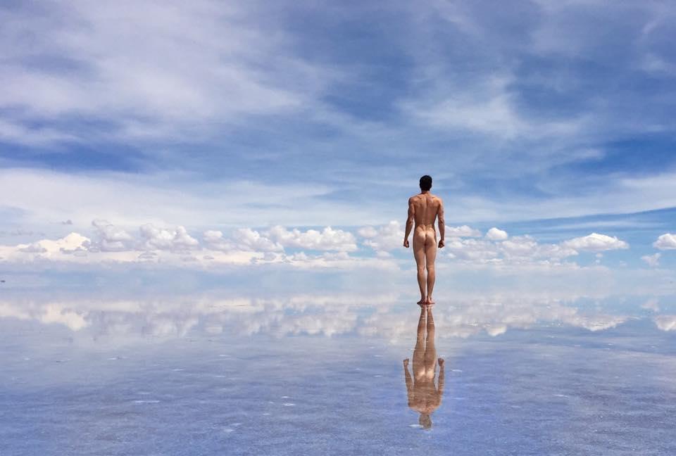 Justin Alexander at Salar de Uyuni salt flats, Bolivia.