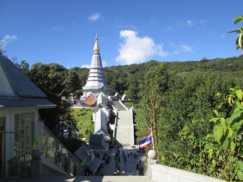 Doi Inthanon national park with queen's pagoda in the background.