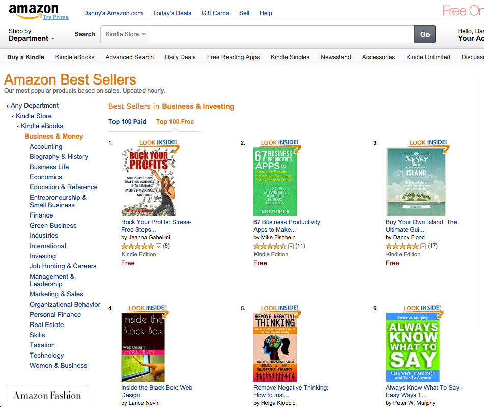 Buy Your Own Island #1 on Amazon charts for Business and Investing