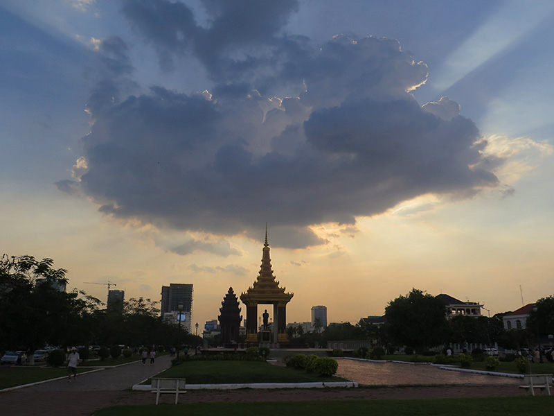 Sunset over Phnom Penh, Cambodia.