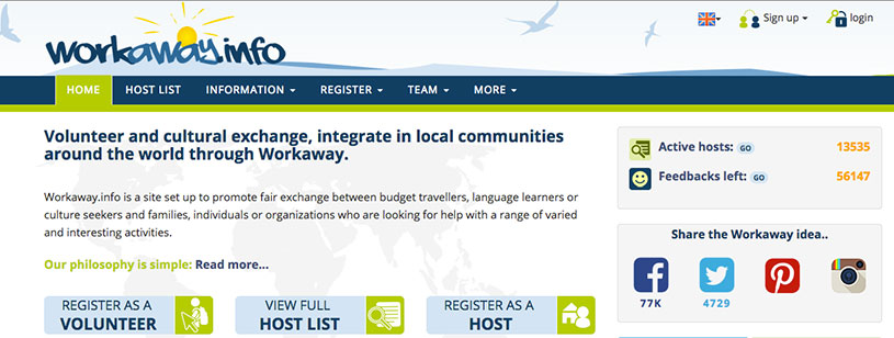 Workaway.org, work exchange for travelers and hosts.