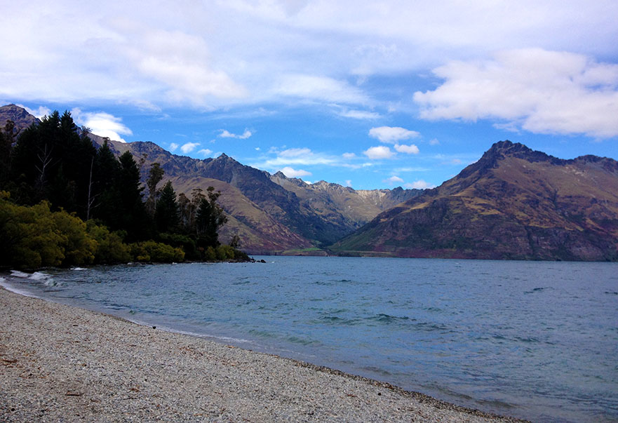 Camping in Queenstown Lake Park, NZ.