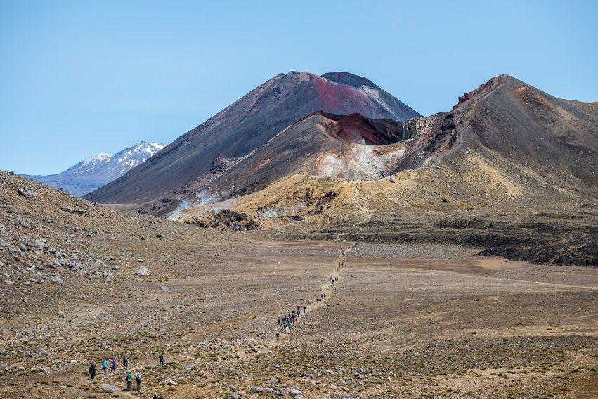 Hiking the Tongariro crossing in New Zealand.