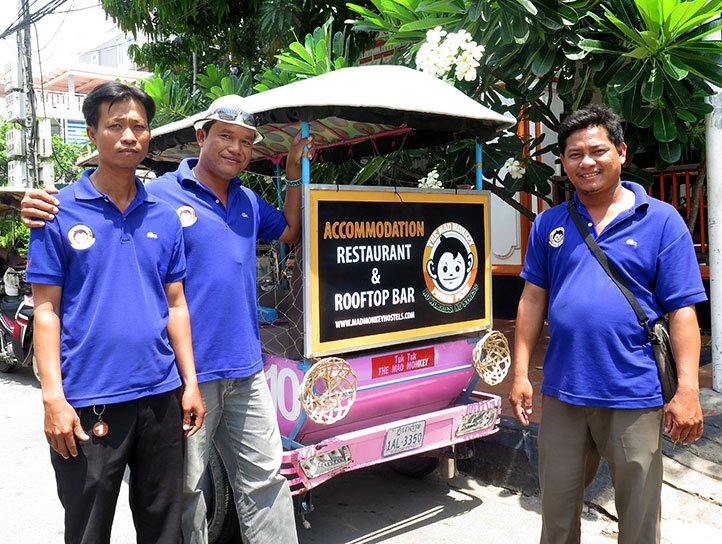 Tuk tuk drivers at the Mad Monkey Hostel in Phnom Penh.