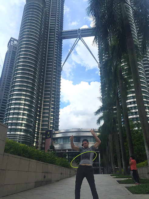 Danny Flood at Petronas Towers, Kuala Lumpur.