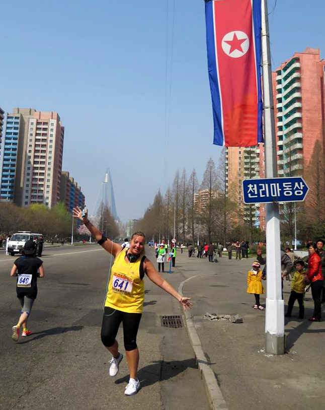 Leanne Beesley, founder of Coworker, in the North Korea marathon