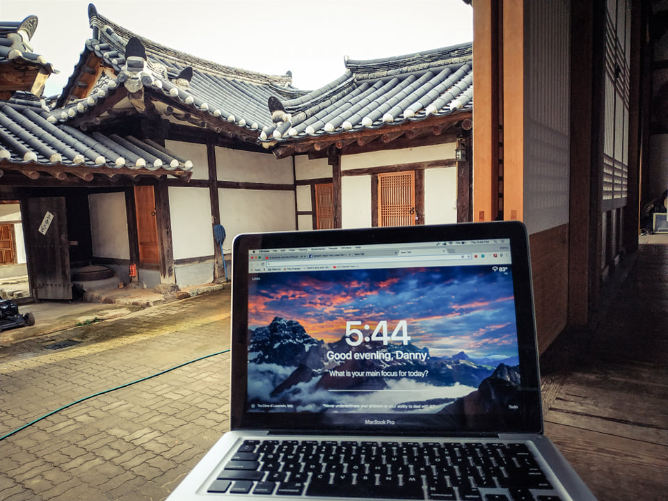 My digital nomad office in Korea.